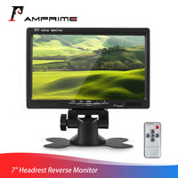 AMprime 7 TFT Color LCD Headrest Car Parking Rear View Reverse Monitor With 2 Video Input 2 AV In For DVD VCD Reversing Monitor