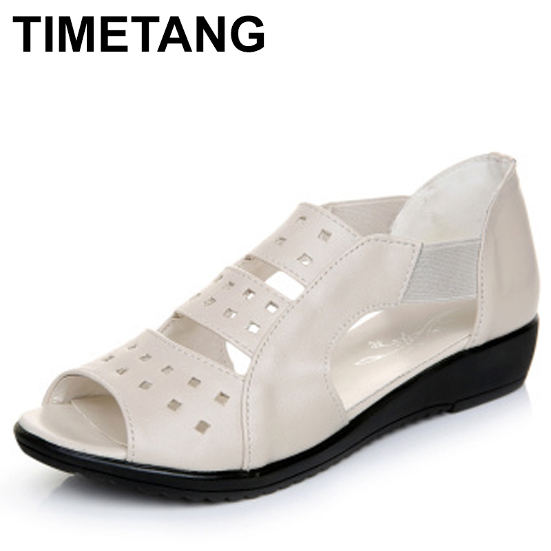 TIMETANG 2018 new Summer Women Shoes Woman Genuine Leather Flat Sandals Casual Open Toe Sandals Women SandalsTIMETANG 2018 new Summer Women Shoes Woman Genuine Leather Flat Sandals Casual Open Toe Sandals Women Sandals