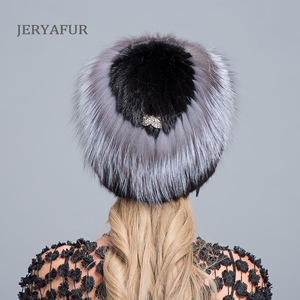 Image 3 - JERYAFUR New Fashion Winter Hats For Women Real Mink Fur Hat Female Patchwork Fox Fur Mix Color Internal Knitting Beanies Warm