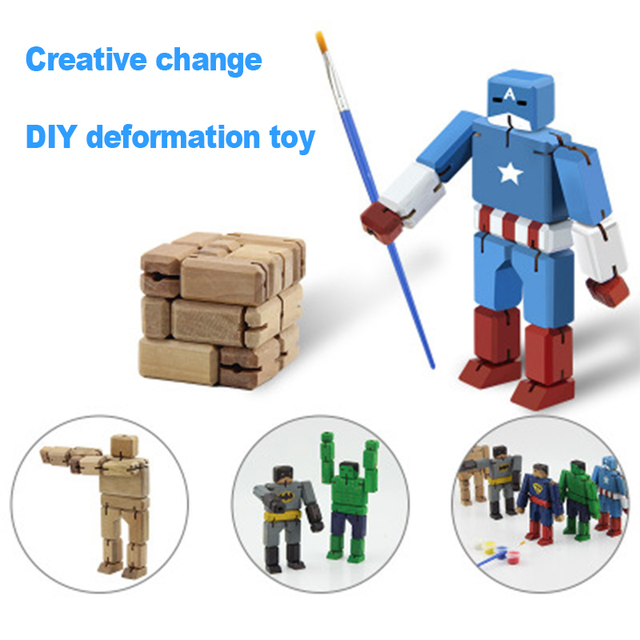 New type Wood Deformation Robot Puzzle Graffiti Magic Cubes Folding Children's entertainment hot sale toys Magic Cubes sale