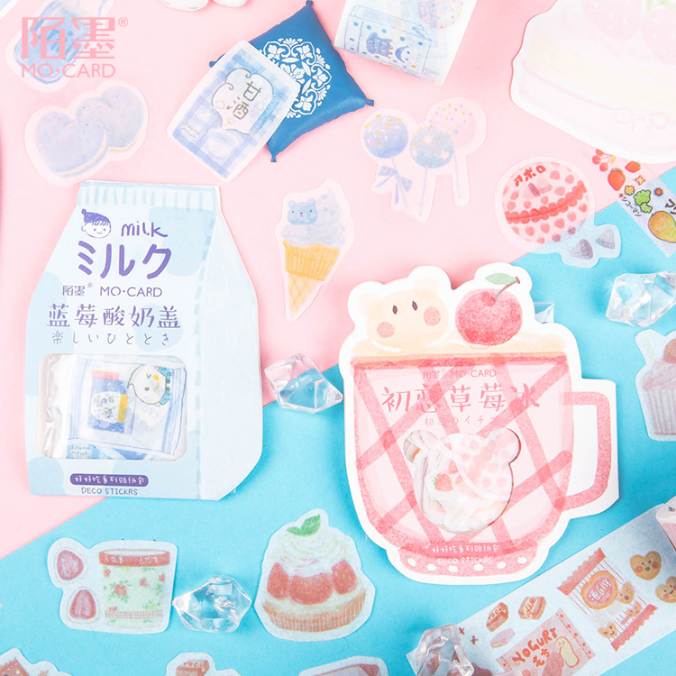 40 Pcs/pack Cute Cat Fruit Strawberry Bullet Journal Decorative Stickers Scrapbooking Stick Label Diary Stationery Album Sticker