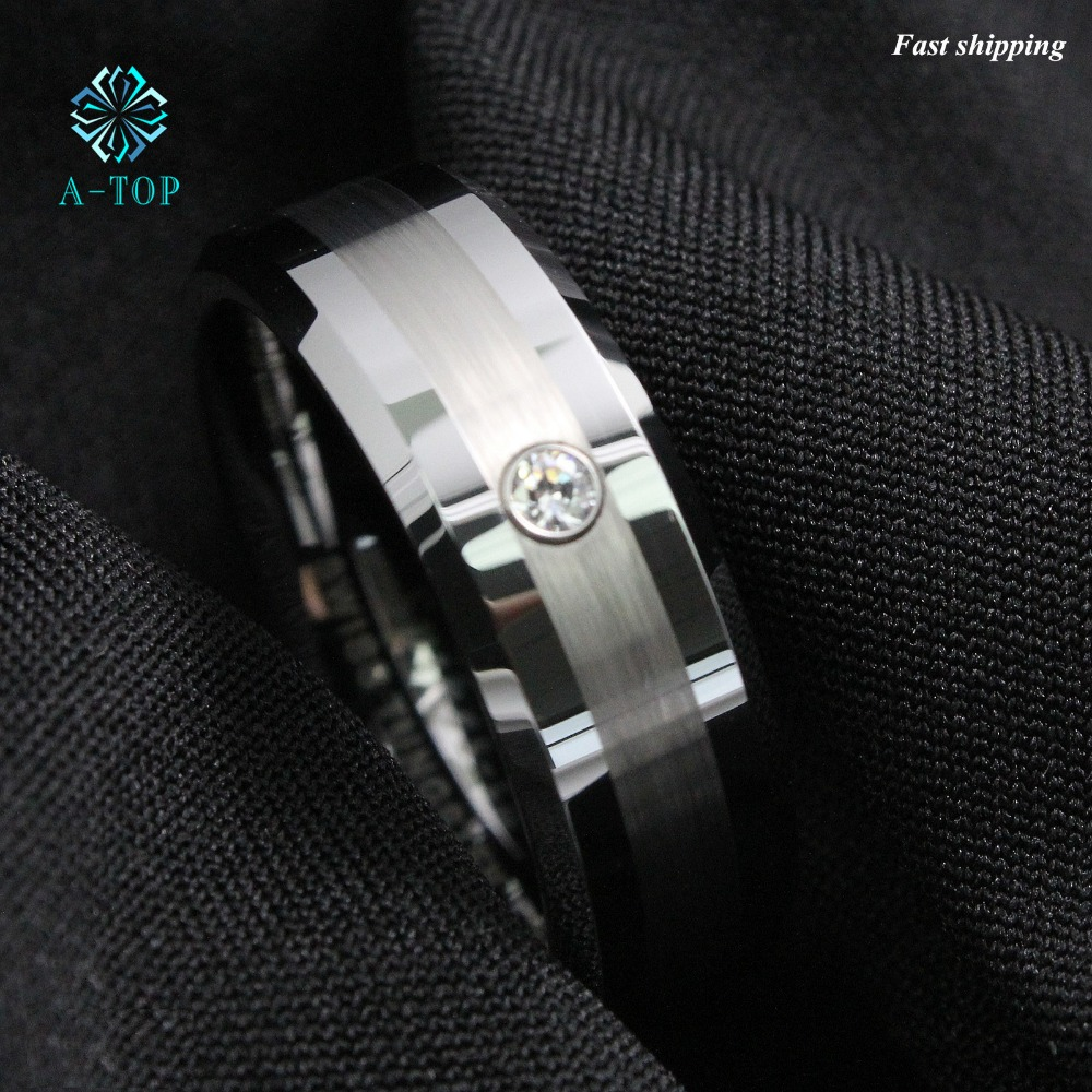 Men's Tungsten Carbide brushed ring luxury CZ Inlay comfort fit Wedding Band Ring Free Shipping black tungsten carbide with dark wood inlay mens wedding ring