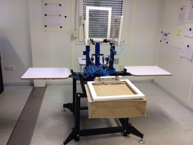 4 Color 4 Station T-Shirt Screen Printing Machine Silk Screen Printing Machine T-Shirt Printer Dual Rotary Printing Machine
