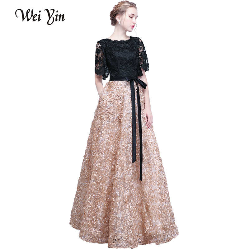 7adb06c0b4 WEIYIN Real Photo New Elegant Evening Dress Black With Khaki Color Lace  Floor-length Long Prom Party Gowns Vestido De Festa