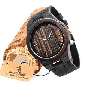 Image 3 - בובו ציפור WB13 אבוני עץ שעון מגניב לסחוב על 4 שעה עץ פנים חיוג רצועת עור שעונים לגברים