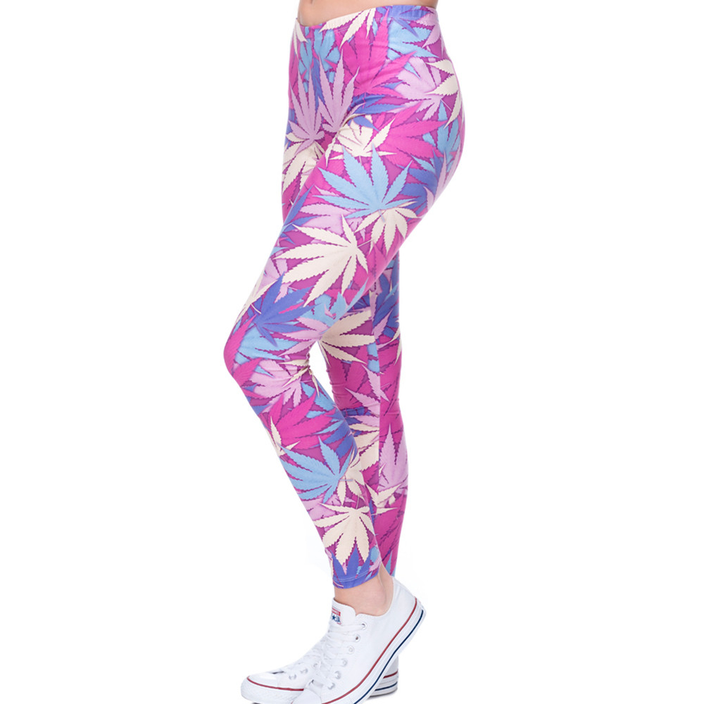 Fashion Sexy Leggings Women Weeds Print Pink Fitness Legging Silm Stretch Leggins High Waist Legins Trouser Casual Pants