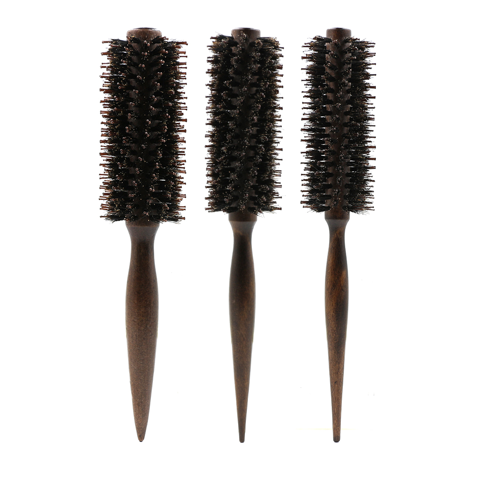 Barber Salon Round Roller Wood Hair Brush Boar Bristle Nylon Curly Hair Comb With Long Handle