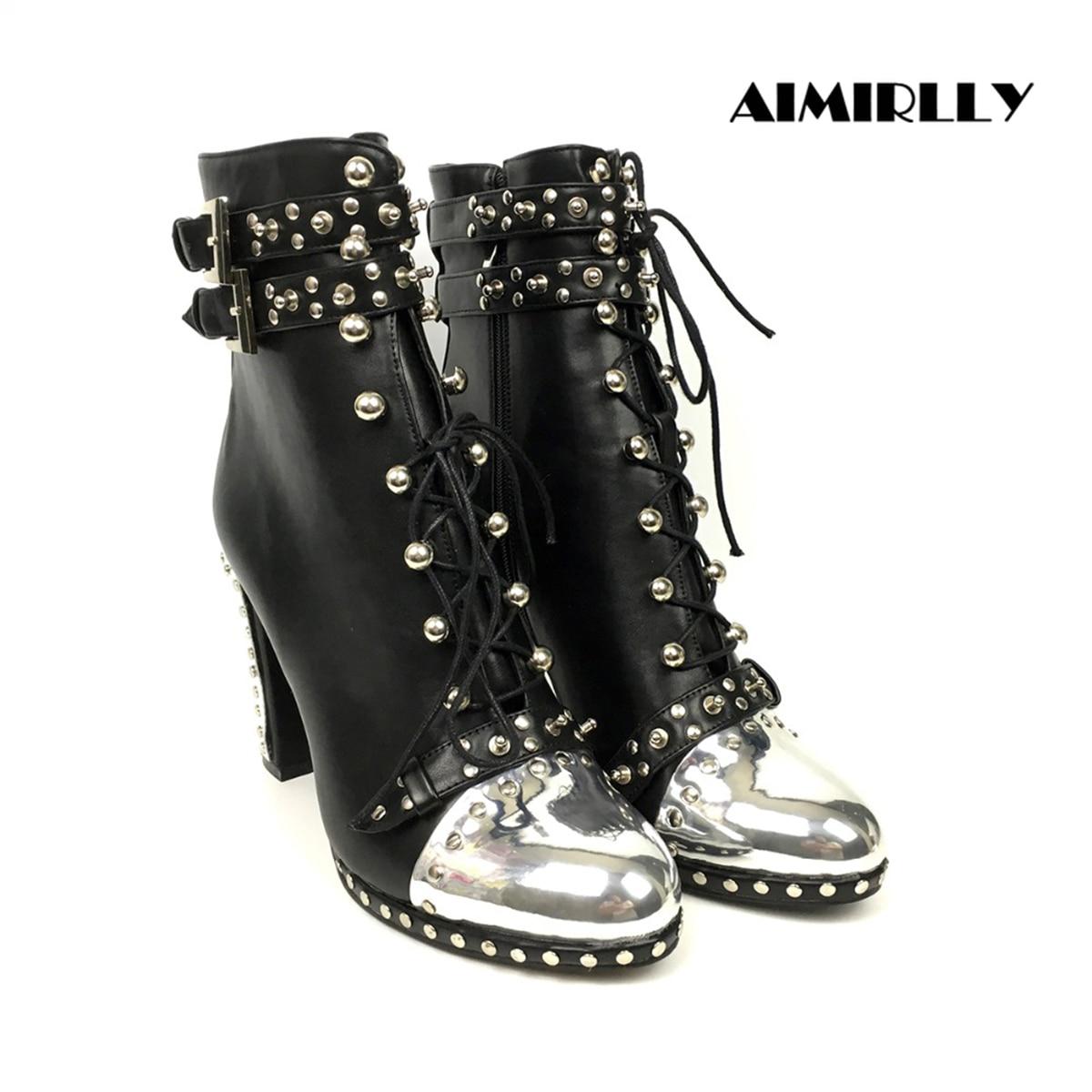 Aimirlly جديد المرأة واشار تو عالية الكعب الفضة المسامير حذاء كاحل برباط مشبك الجانب البريدي حذاء من الجلد أزياء الشتاء الجوارب-في أحذية الكاحل من أحذية على  مجموعة 1