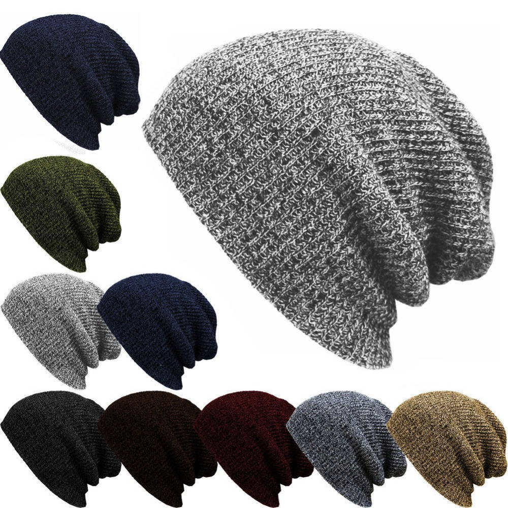 1PC Knit Men's Women's Baggy Beanie Winter Warm Hat Ski Slouchy Chic Crochet Knitted Cap Skull H01 unisex winter plicate baggy beanie knit crochet ski hat cap red