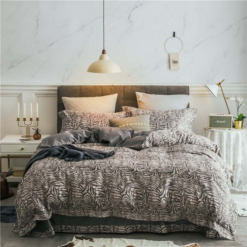Pillowcase Bed-Sheet/linen Leopard Egyptian Cotton Bedding-Set Duvet-Cover-Set Queen