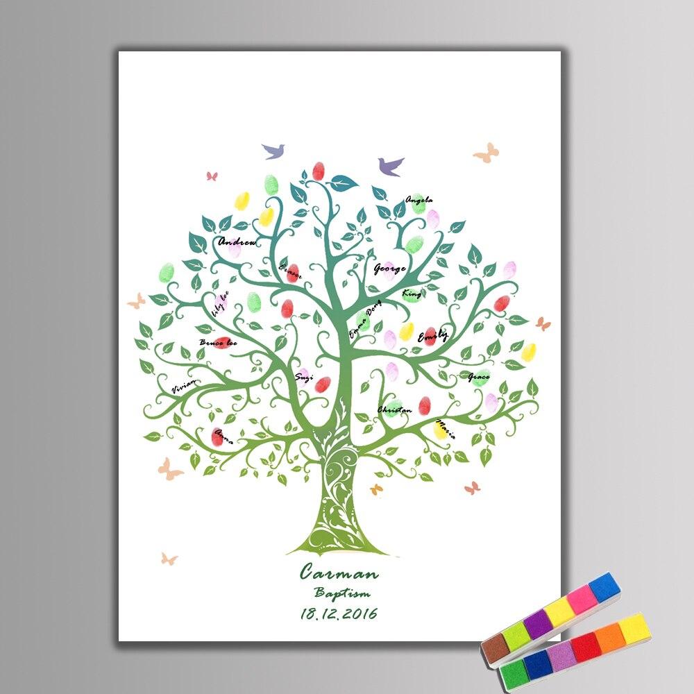 Us 612 30 Offleinwand Fingerprint Unterschrift Gästebuch Des Lebens Baum Für Hochzeit Geburtstag Party Baby Shower Taufe Dekoration Souvenir In