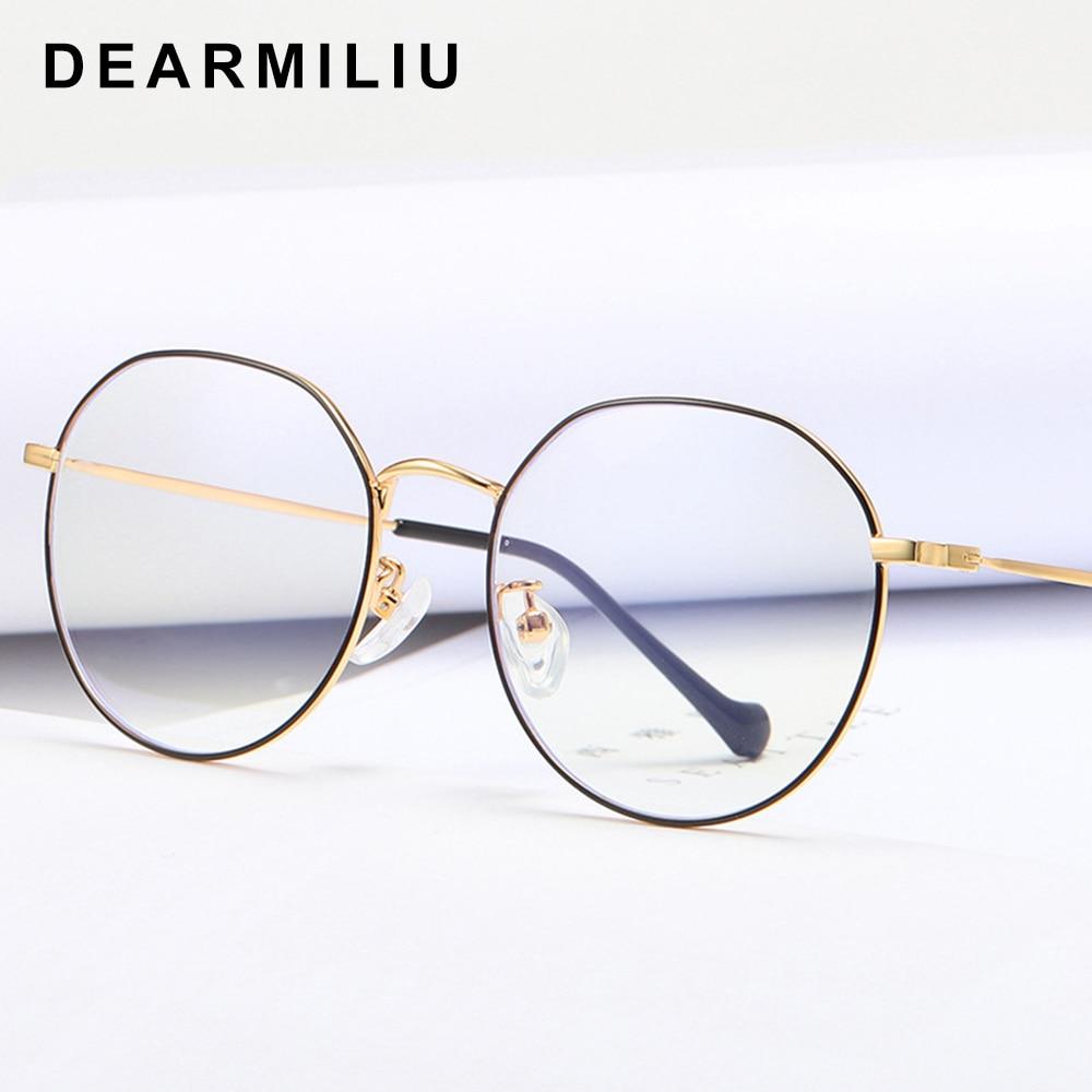 Dearmiliu Round Rose Gold Frame Anti Blue Light Blocking Glasses Led Computer Reading Radiation-resistant Glasses Gaming Eyewear