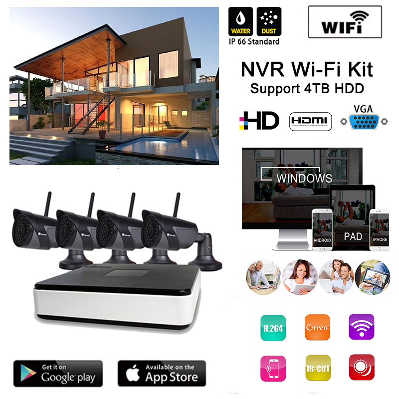 Plug and Play Wireless NVR Kits 4pcs 720 wifi IR camera HD Outdoor IR Night Vision and 1 mini WIFI NVR in Home Security System plug and play 8ch h 264 nvr wireless
