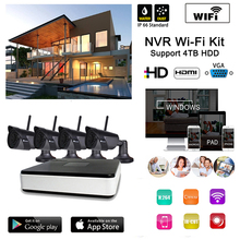Plug and Play Wireless NVR Kits 4pcs 720 wifi IR camera HD Outdoor IR Night Vision and 1 mini WIFI NVR in Home Security System