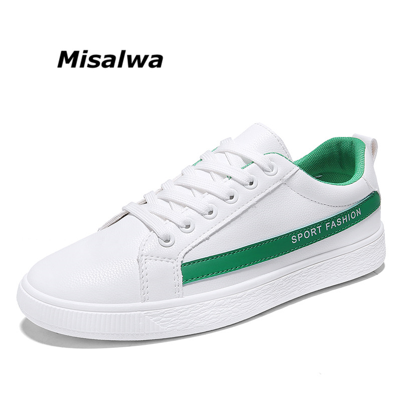 Misalwa Men Youth Spring/Summer New White Sneakers Flaty Casual Fashion School Male Shoes Skateboards Lace Streetdance Leather