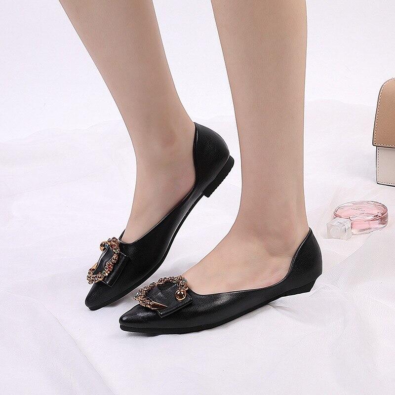 Nueva Beige Plana Zapatos De Otoño Primavera black Trabajo Broca Acuarela Mujer Hebilla Y Metal xxrwa7U
