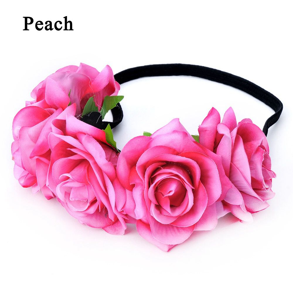 Okdeals 1PC Fashion Bohemia Style Rose Flower Headbands Floral Crown Hairband Wedding Hair Garland Bridal Girls Hair Acessories 9
