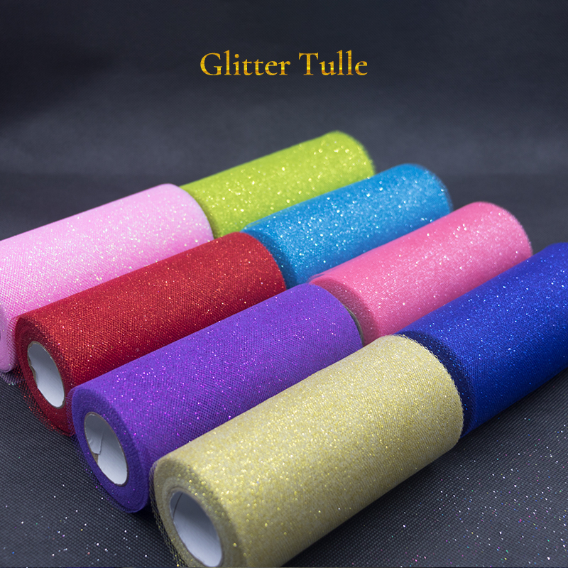 Image 4 - 25Yards Glitter Sequin Tulle Roll Wedding Decoration Gold Laser Organza Silver Sparkly Glitter Sequin Tulle  Mesh Party Supplies-in Party DIY Decorations from Home & Garden