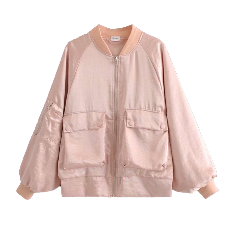 Vintage Women Satin Bomber   Jacket   Big Pocket Coat Back embroidery   Basic   Coats Flight Army Biker Retro Zip Up outwear Autumn