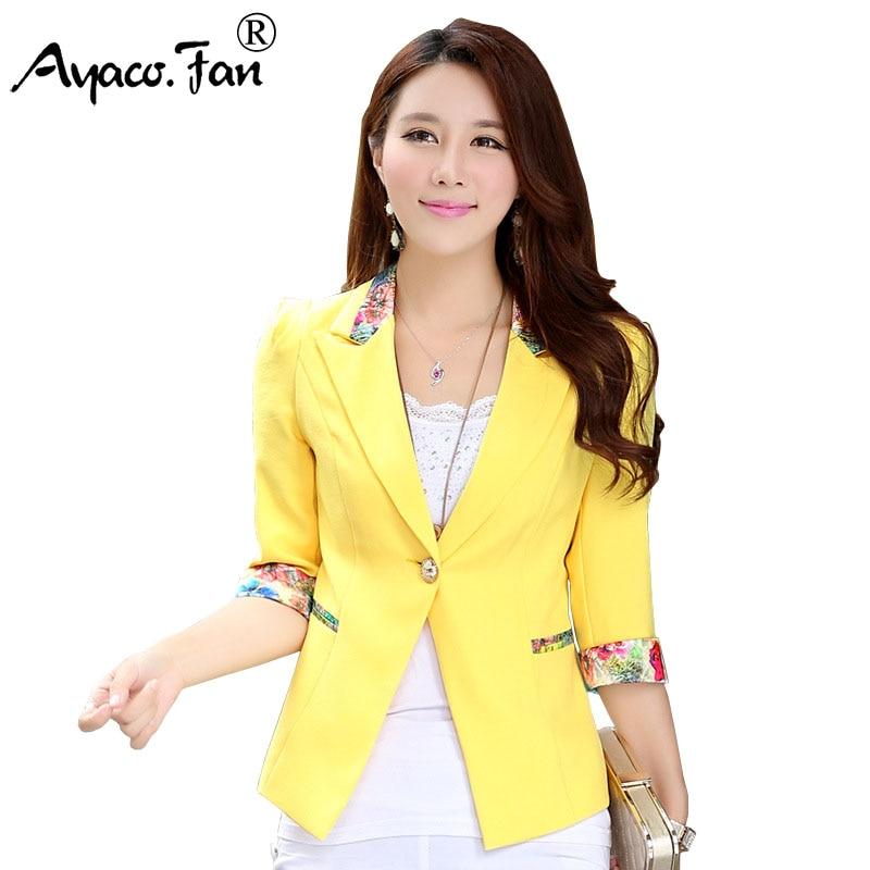 Summer Autumn 2019 New Floral Blazer Three Quarter Sleeve Candy Blazers Women Flower Slim Lady Office Suit Thin Coat Plus Size