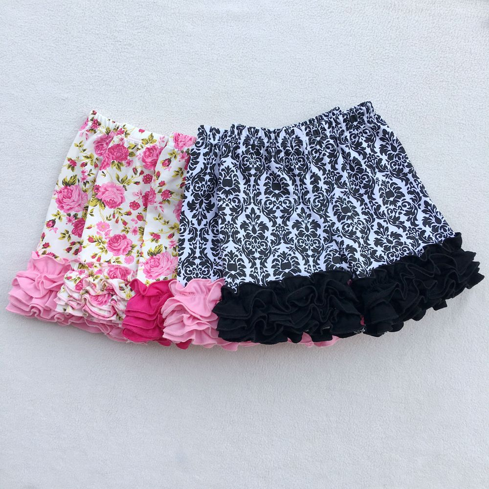 6M-10T Cotton Ruffle Shorts Maroon Toddler Girls Shorts Kids Knit Icing Baby Girl Shorts Children Summer Clothes Shorties