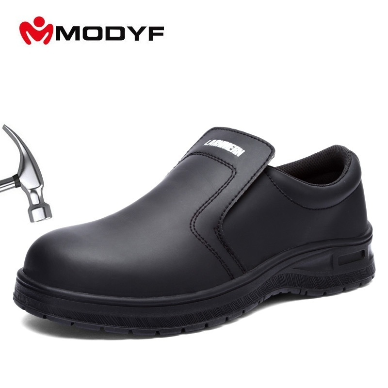 MODYF Men Casual Leather Shoes Men Steel Toe Shoes Work Safety Shoes Anti-smashing Waterproof Ankle Botas image