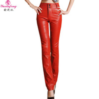 Yuxinfeng Spring Autumn Plus Size Faux Leather Pants Women Button Pockets Zipper Slim Straight Leather Trousers Ffemale Orange