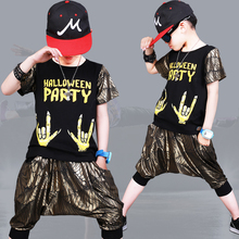 Brand 2018 Fashion Sets Hip Hop Summer Set For Boys Style Children Suit Wing Print Tshirt+Harem Pants Boy Dance Costume Unisex цены