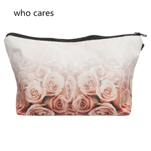 Who Cares 3D Printing Roses Ombre Neceser Portable Make Up Bags Case Organizer Bolsa feminina Travel Toiletry Bag Cosmetic Bag