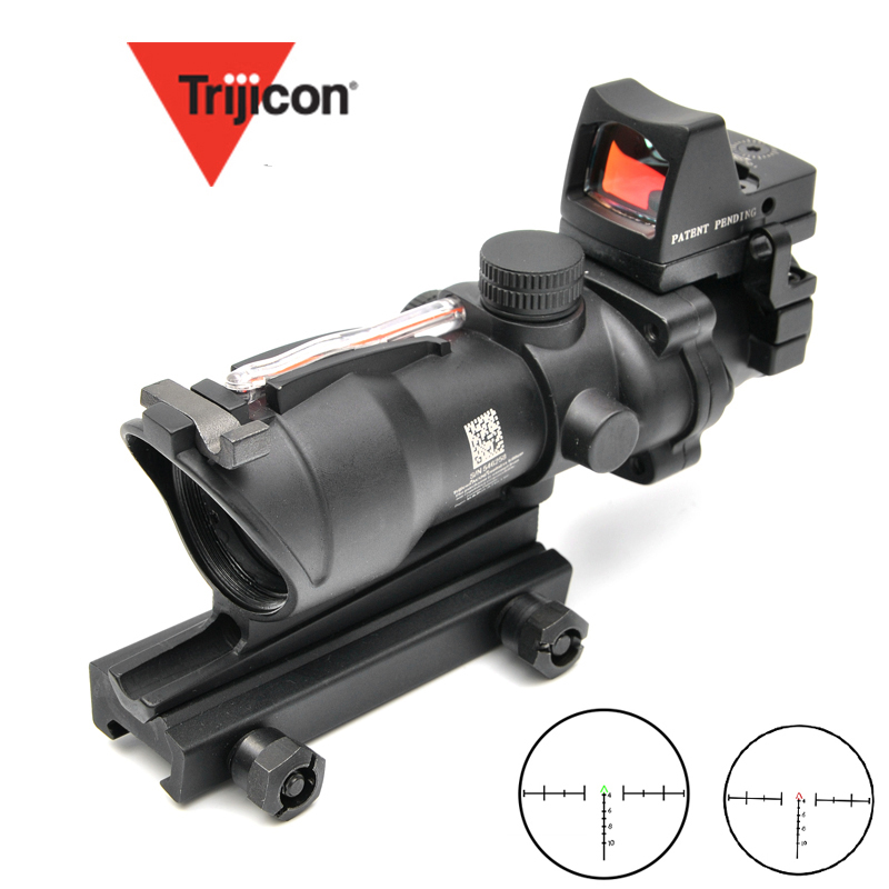 Trijicon ACOG 4X32 Scope Cahevron Reticle Fiber Green Red Illuminated With RMR Mirco Red Dot Sight Tactical Hunting RiflescopeTrijicon ACOG 4X32 Scope Cahevron Reticle Fiber Green Red Illuminated With RMR Mirco Red Dot Sight Tactical Hunting Riflescope