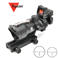 Trijicon ACOG 4X32 Scope Cahevron Reticle Fiber Green Red Illuminated With RMR Mirco Red Dot Sight Tactical Hunting Riflescope