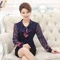 Nova alta qualidade moda feminina outono de manga comprida t-shirt camisa de chiffon mãe clothing lady silm malhas camisola