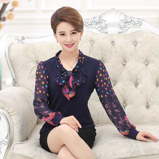 Nueva alta calidad de la manera mujeres del otoño de manga larga camiseta camisa de gasa madre clothing señora silm géneros de punto del suéter