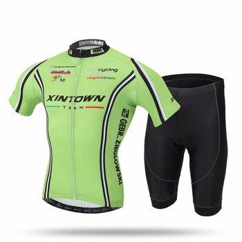 XINTOWN/дышащие комплекты одежды для велоспорта с коротким рукавом и защитой от пота, трикотажные шорты-комбинезон для велосипеда, Ropa Ciclismo, вел...