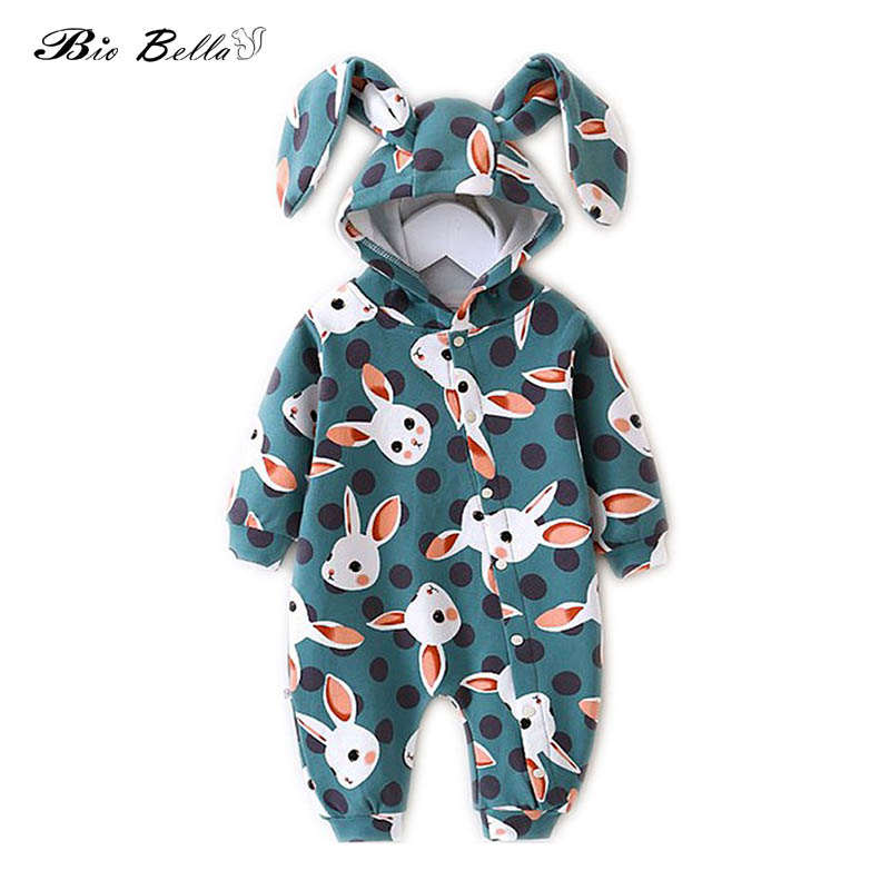 New Baby   Romper   Kids Cute Rabbit Style Hooded Long Sleeve Jumpsuit Baby Product Cotton Newborn Baby Boys Girls Costumes
