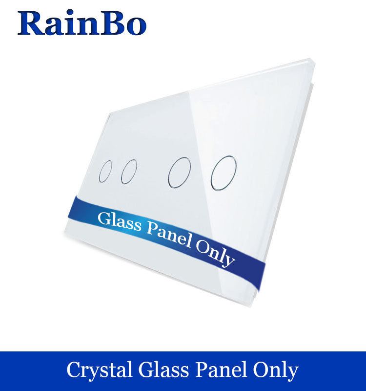 RainBo Free shipping Luxury Crystal White Glass Panel 2Frames 2gang+2gang Switch Panel EU Standard for DIY Accessories A2922W/B1 for free shipping 323 sea fuxing 2 glass doors lifter qianmen elevator machine