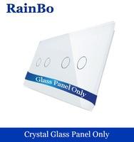 Free Shipping Luxury Crystal White Glass Panel 2 Frames 2gang 2 Gang Wall Switch Panel EU