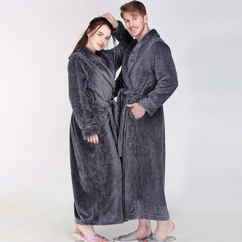 男性女性冬余分なロング厚みグリッドフランネル温浴ローブ高級ソフト熱バスローブメンズドレッシングガウン男性セクシーなローブ