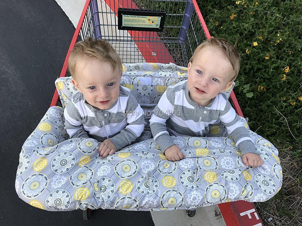 2в1 двухместная детская магазинная Тележка для покупок, крышка для обеденного стула, антибактериальная Защитная Подушка, портативная