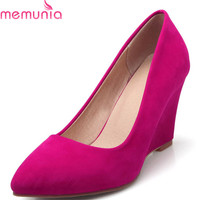 MEMUNIA 2018 new arrival women pumps spring summer pointed toe ladies shoes shallow flock party wedding wedges high heels shoes