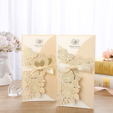 1pcs Gold Laser Cut Wedding Invitations Card Lace Rose Heart Greeting Cards Envelopes with Ribbon Party Favor Supplies