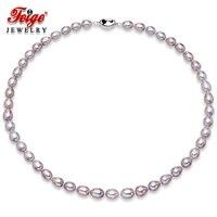 FEIGE Genuine AAA 7-8mm Rice Shape Purple Freshwater Pearl Necklace For Women's Choker Necklaces Fine Pearl Jewelry