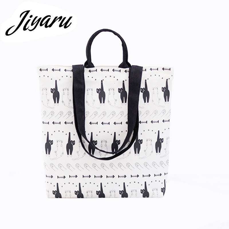 Foldable Shopping Bag Handbags Eco-friendly Grocery Bags Portable Canvas Bags Shopper Duplex Printing Shopping Bags Reusable