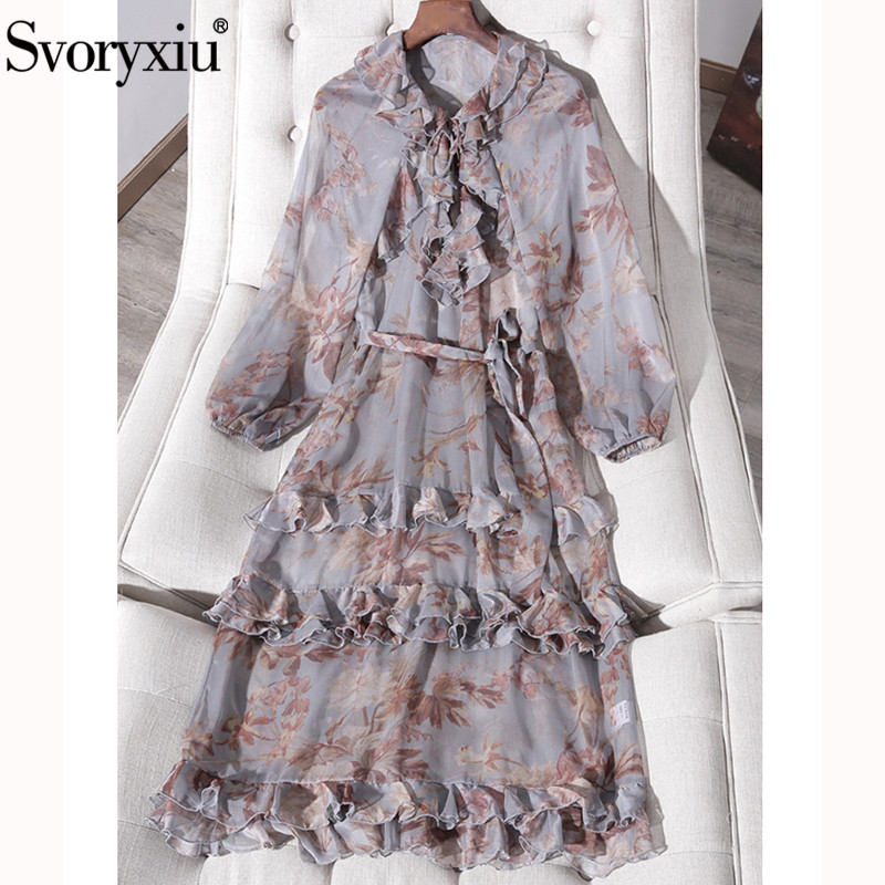 Svoryxiu Designer Summer Long Sleeve Midi Dress Women's Sexy V Neck Floral Print Tiered Ruffles Vacation Party Long Dresses