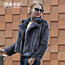 High quality real mink fur coat woman slim zipper mink coat turn down collar sexy motorcycle jacket wome genuine fur coat female