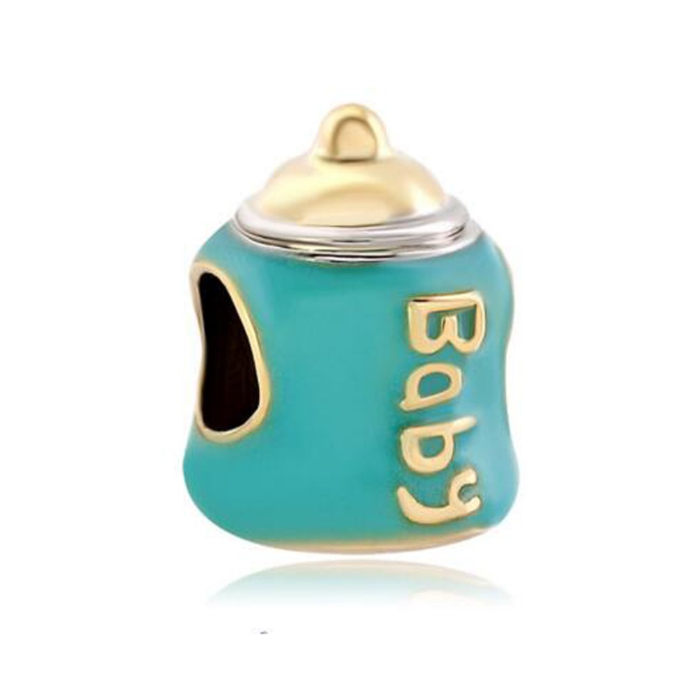 Free shipping Mother Daughter Baby Feeding Bottle Charm Bead fit Pandora bracelet