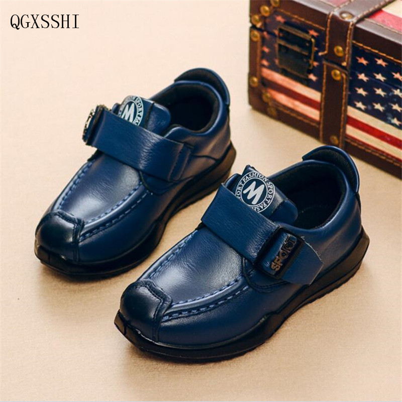 QGXSSHI Kids Shoes Boys Genuine Leather Shoes 2017 New Children Soft Sole Casual Shoes Fashion Comfortable Loafers School J68