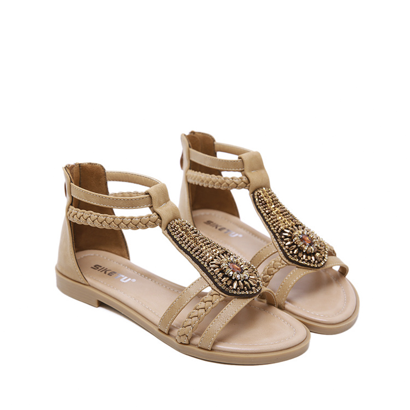 Fashion Retro Rhinestone Flat Shoes Women 39 s Sandals Plus Size 2019 New Low Heel Soft Beach Female Slip Ons Casual Ladies Shoes in Low Heels from Shoes