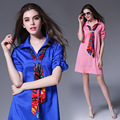 Jbersee Brand Clothing High-quality Fashion Womens 100% Silk Sexy Dresses Women Loose Summer Shirt Mini Dress vestidos de verano