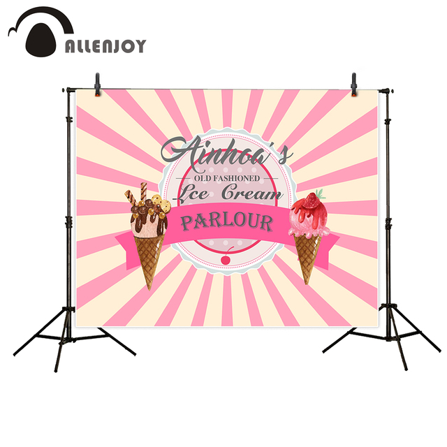 Allenjoy new arrivals photo backdrop Pink Stripes ice cream Party Birthday LOGO backdrop photocall photo printed excluding stand